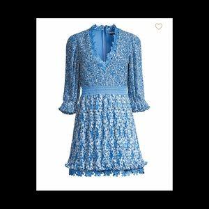"""Alice and Olivia """"Jonna Pleated Deep-V Mini Dress"""""""